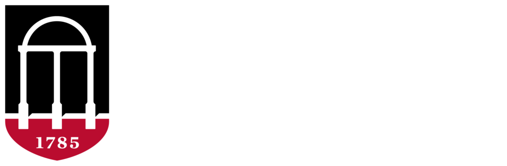 University of Georgia reversed color and white logo
