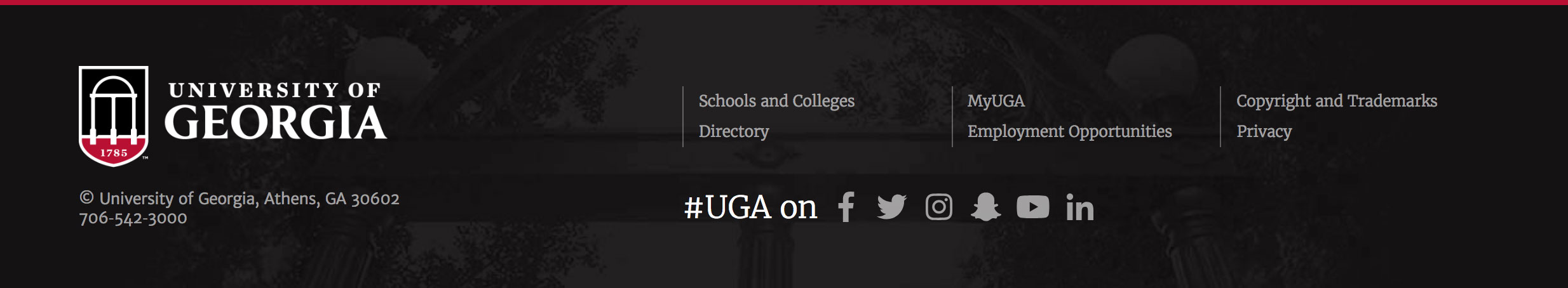 sample UGA global footer